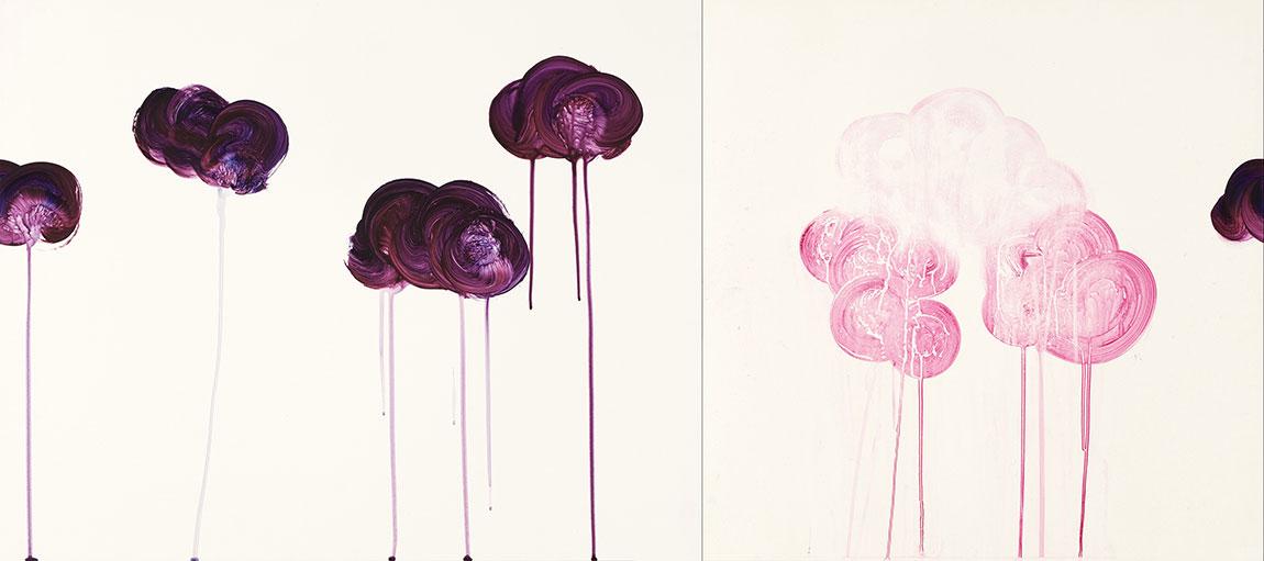 purple cloud beings diptych